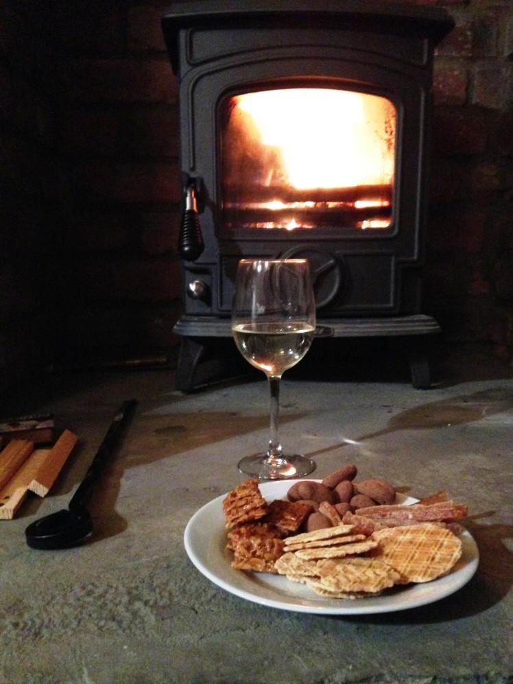 wine, fire, chocolate