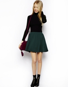 ASOS green skater skirt